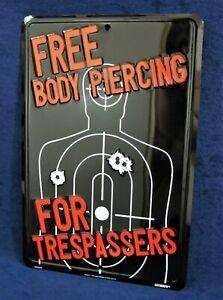 FREE BODY PIERCING - *US MADE* Embossed Metal Sign - Man Cave Garage Bar Decor