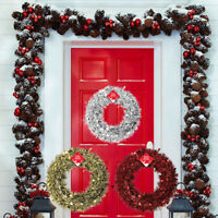 Luxury 28cm Christmas Tinsel Wreath Red Silver Gold Door Wreath Xmas Decoration