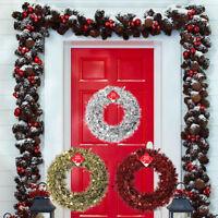 Luxury 28cm Christmas Tinsel Wreath Red Silver Gold Door Wreath Xmas Decoration
