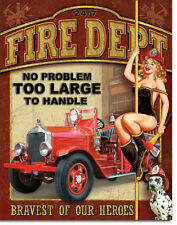 Fire Department Metal Sign/Poster - Bravest of Our Heroes
