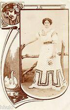 BD899 Carte Photo vintage card RPPC Femme woman cadre mode fashion robe dress