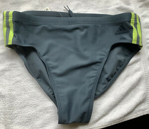 """New 34"""" Mens Adidas Grey & Yellow Swimming Trunks Vintage Style Bnwt"""