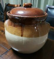 Vintage Brown Tan Glazed Pottery Stoneware Crock Pot, Cookie Jar