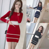 Korean Women Knitted Stretch O Neck Long Sleeve Slim Casual Autumn Winter Dress