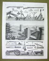 ROMAN MILITARY War Catapults Towers  Mortars -1844 SUPERB Print Engraving