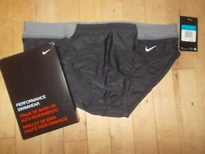 NWT NIKE PERFORMANCE Victory Colorblock Black/Gray Brief Swimwear Sz 36