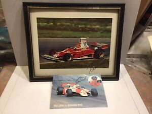 Signed NIKI LAUDA AUTOGRAPHED Ferrari photo & McLaren postcard F1 racing cars