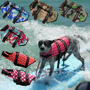 Pet Dog Life Jacket Swimming Float Clothes Reflective Safety Surfing Vest S-XXL