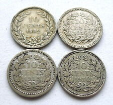 NETHERLANDS SILVER 10 CENTS X 4: 1882 WILLEM III, 1918, 1919 + 1930 WILHELMINA.