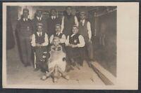 """41732) Echt Foto AK Danzig Studentika Kegeln """"Frei-weg!"""" ca. 1924"""