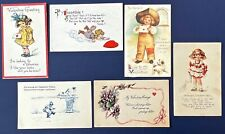 Vintage Antique Valentine Postcards Lot of 6 Early 1900s