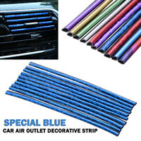 10x Car Air Outlet Conditioner Vent Strip Grille Decoration Strip Blue Chromed