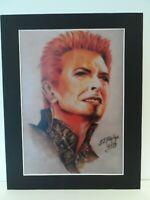"David Bowie original Art S3 14"" x 11"" A4 Mounted Print"
