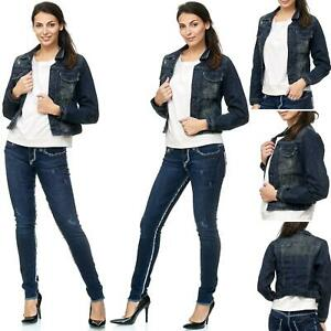 TAZZIO Damen Jeans Jacke   Slim Fit   Jeansjacke   Denim Damenjacke   Blau