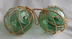 "2 x Vintage Hand Blown 5"" Green Glass Fishing Floats / Fisherman's Buoys"