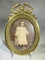Antique Art Nouveu Heavy Solid Brass Photo Frame