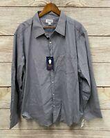 "Haggar Shirt Mens Size 2XL (56"" Chest) Blue Check Tuckless Button Down Shirt New"