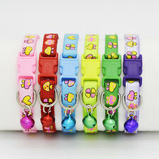 6 Pcs Pet Cat Dog Nylon Collar Mushroom Printing Bell Collar Neck Safety Buckle