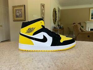 Nike Air Jordan 1 Mid SE Yellow Toe Black Yellow White 852542-071 Men's 11