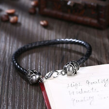 Men Women Large Silver Bead Skull Charm Wrap Bracelet W.Leather