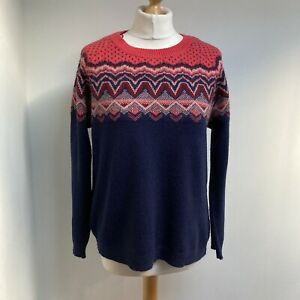 MARKS AND SPENCER Jumper Size 12 Fair Isle Style Navy Blue Pink Wool Angora