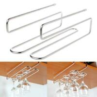 2 Rows Stainless Steel Cup Holder Wine Glass Hanging Rack Under Cupboard Hanger