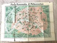 Vintage Two Sided PARIS Map, France Monumental Metropolitan Color, F. Dutal