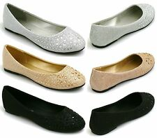 LADIES & KIDS FLAT PUMPS WOMENS GLITTER BALLET BALLERINA DOLLY BRIDAL SHOES SIZE