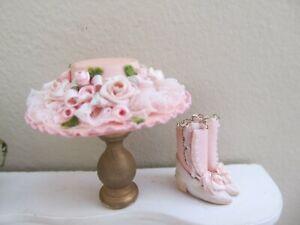 Dollhouse Miniature 1:12 Artisan Ladies Flowered Hat & Shoes The Summerlots