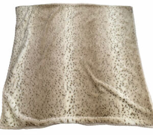 Donna Salyers Fabulous Furs Ivory Cable Knit Fur Lined Throw Blanket 60x60