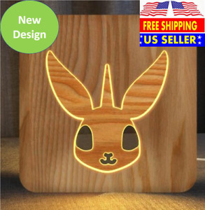 3D Wooden LED Night Light With Carved Bunny & Unicorn, USB Powered Night Light