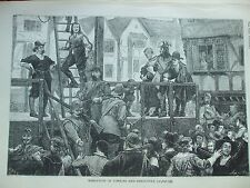 ANTIQUE PRINT C1875 EXECUTION OF TOMKINS AND CHALLONER ENGRAVING LONDON HISTORY