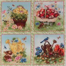 """Giordano Garden Flowers Birds Chipmunk Bunny 5.5"""" quilt squares cotton quilting"""