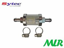 "CLASSIC CHROME MOTORBIKE 6MM 1/4"" SYTEC IN LINE GLASS FUEL FILTER MLR.BDV"
