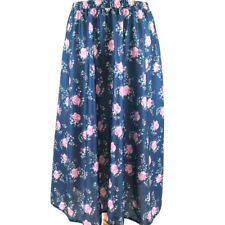 Rockabilly Skirt 12 14 Rose Print Satin 50s Style Autumn Blue High Waist Midi
