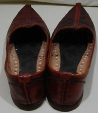 Vintage Womens Pointed Toe Indian Flats Brown Stitched Leather