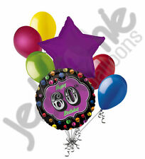 7 pc Festive 60th Happy Birthday Balloon Bouquet Party Decoration Thirty