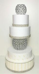 Set of 2 Silver Orb Crystal Cake Separator Stand By Forbes Favors LED