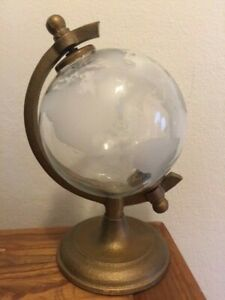 """Etched Glass Desktop Spinning Globe with Metal Stand 9.5"""" high"""