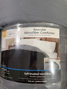 Microfiber Reversible Comforter, Grey/Black, Full/Queen by Mainstays - BRAND NEW
