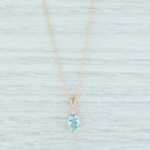 "0.66ctw Aquamarine Diamond Drop Pendant Necklace 14k Yellow Gold 18.5"""