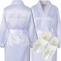 Rhinestone The Bride Satin Bathrobe & Spa Slippers Set Kimono Dressing gown