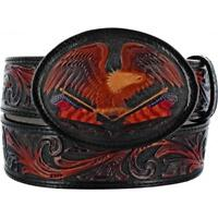 Tony Lama Western Mens Belt Leather American Heritage Eagle Black 50603