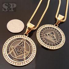"2pcs Stainless Steel Freemason Masonic CZ Pendant & 24"" Round Box Chain Necklace"