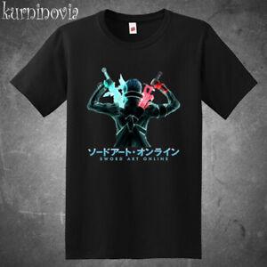 SAO Sword Art Online Anime MMORPG Men's Black T-Shirt Size S to 3XL