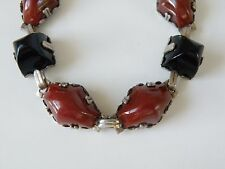Vintage Art Deco Sterling Silver Pyramid Cut Black Onyx Red Carnelian?Bracelet
