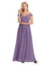 New Long Prom Dresses V-neck Sleeveless Bridesmaid Wedding Chiffon Evening Party