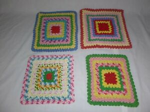 4 Vtg Mid Century Ruffled Pot Holders Hot Pads Trivets Hand Made Multi Colors