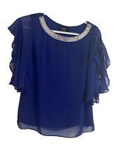 MSK Petite Size PS Royal Blue blouse. Embellished Neckline.