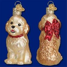 Cockapoo Puppy Dog With Red Bow Old World Christmas Glass Ornament Nwt 12440